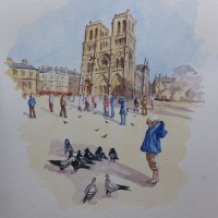 Notre Dame de Paris in Winter Sunshine – Europe Art Gallery – Painting by Woking Surrey Artist David Harmer