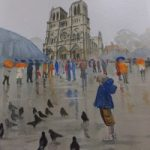 Notre Dame de Paris in the Rain – Europe Art Gallery – Painting by Woking Surrey Artist David Harmer