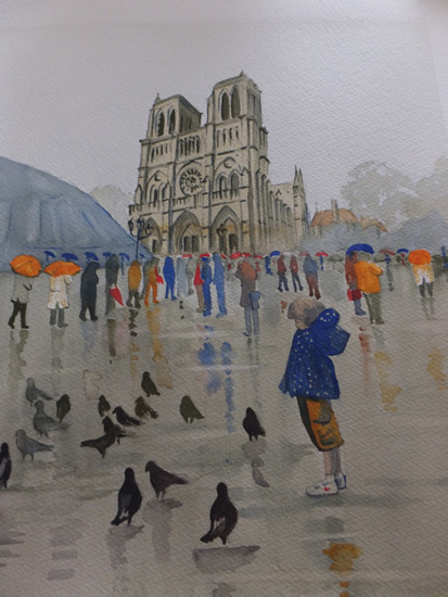 Notre Dame de Paris in the Rain - Europe Art Gallery - Painting by Woking Surrey Artist David Harmer