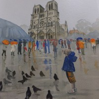 Notre Dame de Paris in the Rain – Europe Art Gallery – Painting by Woking Surrey Artist David Harmer