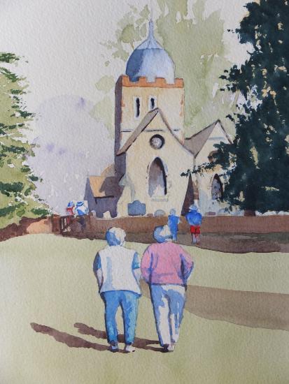 Old Albury Church in the Surrey Hills - Surrey Scenes Art Gallery - Painting by Woking Surrey Artist David Harmer