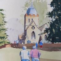 Old Albury Church in the Surrey Hills – Surrey Scenes Art Gallery – Painting by Woking Surrey Artist David Harmer