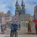 Old Town Square, Prague – Europe Art Gallery – Painting by Woking Surrey Artist David Harmer