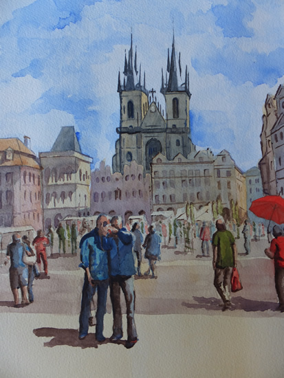 Old Town Square, Prague - Europe Art Gallery - Painting by Woking Surrey Artist David Harmer
