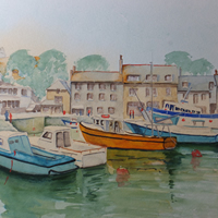 Padstow Harbour with Boats – Cornwall Art Gallery