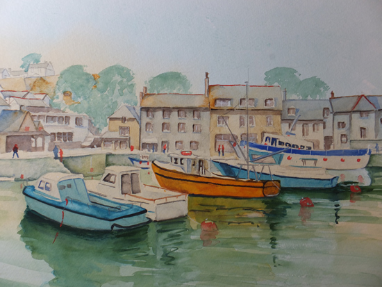 Padstow Harbour with Boats Cornwall Art Gallery