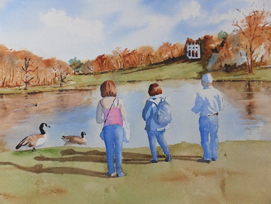 Painshill Park, Cobham - Surrey Scenes Art Gallery - Painting by Woking Surrey Artist David Harmer