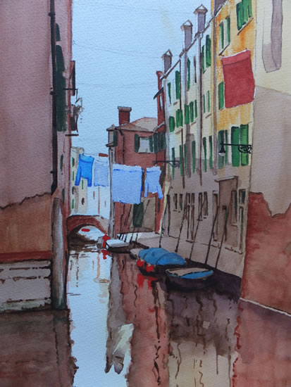 Peaceful Reflections of Venice - Europe Art Gallery - Painting by Woking Surrey Artist David Harmer