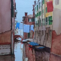 Peaceful Reflections of Venice – Europe Art Gallery – Painting by Woking Surrey Artist David Harmer
