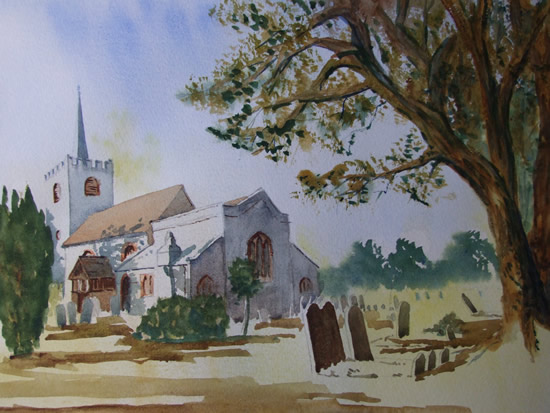 Pirbright Church - Surrey Art Gallery - Painting by Woking Surrey Artist David Harmer