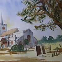 Pirbright Church – Surrey Art Gallery – Painting by Woking Surrey Artist David Harmer