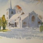 Pirbright Church in Winter – Surrey Scenes Art Gallery – Painting by Woking Surrey Artist David Harmer
