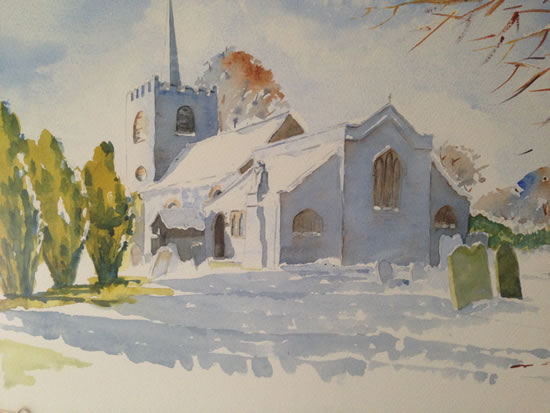 Pirbright Church in Winter - Surrey Scenes Art Gallery - Painting by Woking Surrey Artist David Harmer