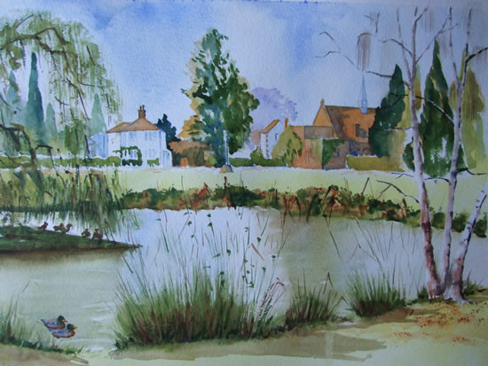 Pirbright Pond - Surrey Art Gallery - Painting by Woking Surrey Artist David Harmer