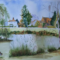 Pirbright Pond – Surrey Art Gallery – Painting by Woking Surrey Artist David Harmer