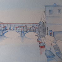 Ponte Vecchio Florence in Evening Light – Italian Art Gallery – Painting by Woking Surrey Artist David Harmer