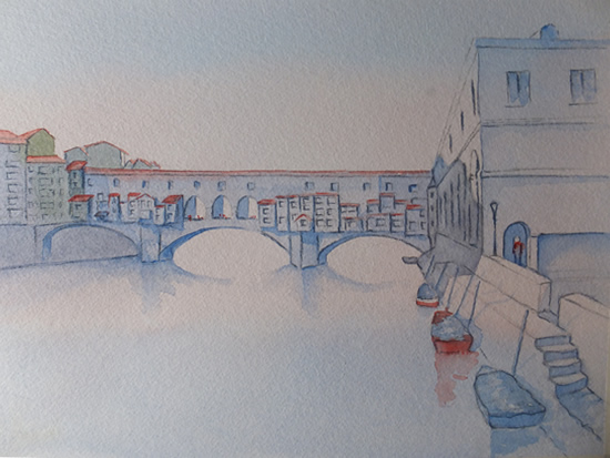 Ponte Vecchio Florence in Evening Light - Italian Art Gallery - Painting by Woking Surrey Artist David Harmer