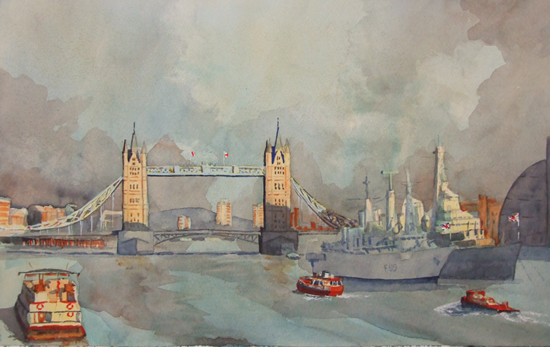 Pool Of London - Britain Art Gallery - Painting by Woking Surrey Artist David Harmer