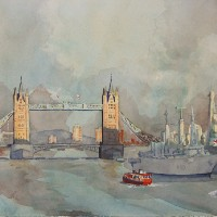 Pool Of London – Britain Art Gallery – Painting by Woking Surrey Artist David Harmer