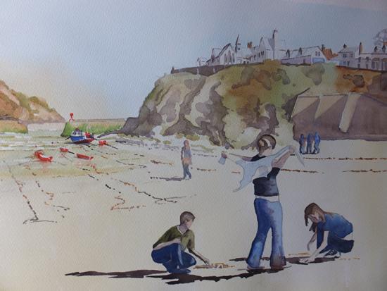 Port Isaac Beach - Cornwall Art Gallery - Painting by Woking Surrey Artist David Harmer