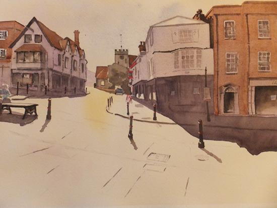 Quarry Street, Guildford - Surrey Art Gallery - Painting by Woking Surrey Artist David Harmer