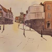 Quarry Street, Guildford – Surrey Art Gallery – Painting by Woking Surrey Artist David Harmer