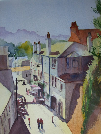 Reigate From The Tunnel - Watercolour Painting - Art Gallery of Woking Surrey Artist David Harmer