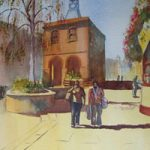 Reigate Town Hall – Watercolour Painting – Art Gallery of Woking Surrey Artist David Harmer