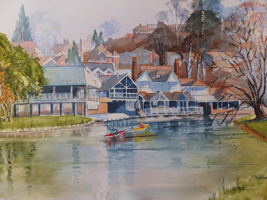 River Wey at Guildford - Canals and Surrey Art Gallery - Watercolour Painting - Art by Woking Surrey Artist David Harmer