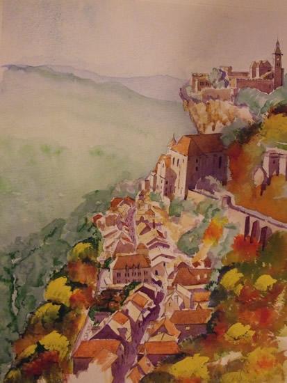 Rocamadour France - Europe Art Gallery - Painting by Woking Surrey Artist David Harmer