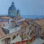 Rooftops over Ragusa, Sicily – Europe Art Gallery – Painting by Woking Surrey Artist David Harmer