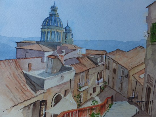 Rooftops over Ragusa, Sicily - Europe Art Gallery - Painting by Woking Surrey Artist David Harmer