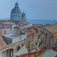 Rooftops over Ragusa, Sicily – Europe Art Gallery – Painting by Woking Surrey Artist David Harmer