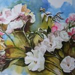 Roses Of Late Summer – Flowers Art Gallery – Painting by Woking Surrey Artist David Harmer