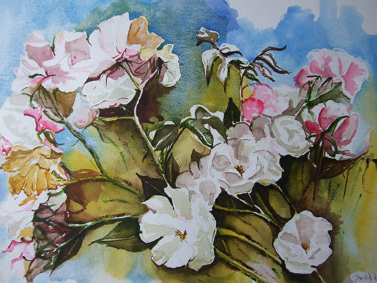 Roses Of Late Summer - Flowers Art Gallery - Painting by Woking Surrey Artist David Harmer