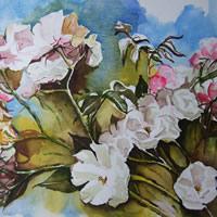 Roses Of Late Summer – Flowers Art Gallery – Painting by Woking Surrey Artist David Harmer