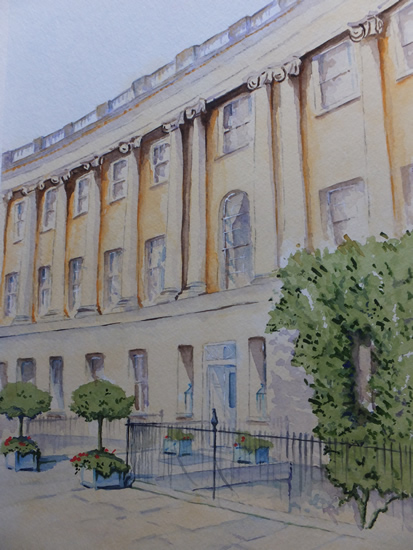 Royal Crescent Hotel Bath - Painting by Woking Surrey Artist David Harmer