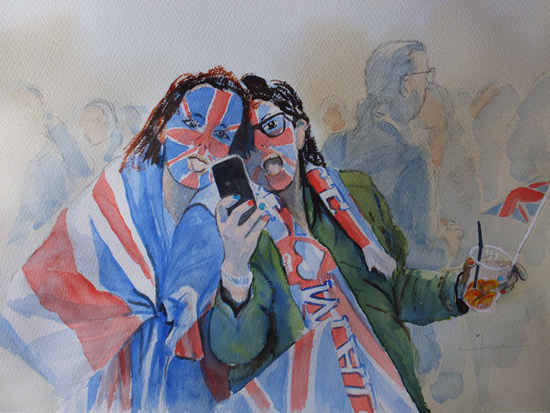 Royal Wedding Celebrations - Hyde Park - Watercolour Art by Woking Surrey Artist David Harmer
