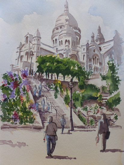 Sacre Coeur de Montmartre, Paris - Europe Art Gallery - Painting by Woking Surrey Artist David Harmer