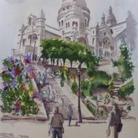 Sacre Coeur de Montmartre, Paris – Europe Art Gallery – Painting by Woking Surrey Artist David Harmer