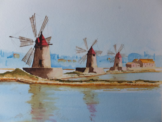 Salt Mills at Trapani, Sicily - Europe Art Gallery - Painting by Woking Surrey Artist David Harmer