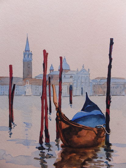 San Giorgio Maggiore, Venice (2) - Europe Art Gallery - Painting by Woking Surrey Artist David Harmer