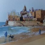 Sitges Beach, near Barcelona – Europe Art Gallery – Painting by Woking Surrey Artist David Harmer