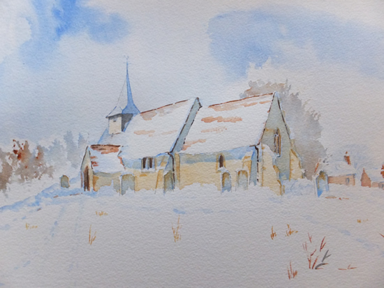 St Nicholas Church Pyrford Surrey Snow Painting - Watercolour Art Gallery