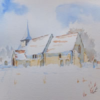 St Nicholas Church Pyrford Surrey Snow Painting – Watercolour Art Gallery