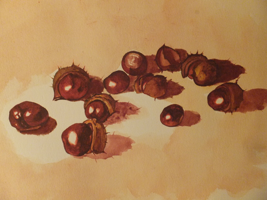 Still Life With Conkers - Animals and Plants Art Gallery - Painting by Woking Surrey Artist David Harmer