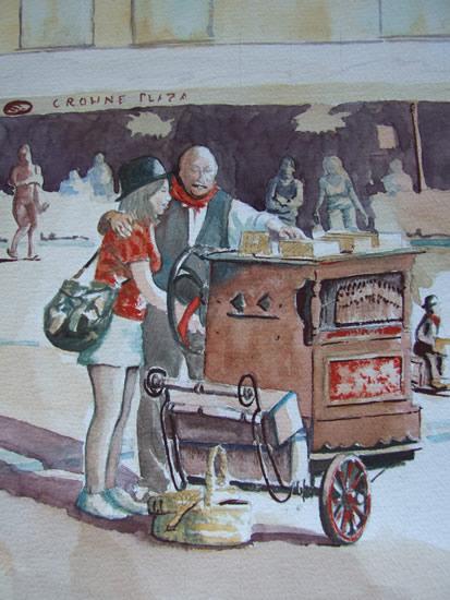 Street Entertainer in Bruges - Europe Art Gallery - Painting by Woking Surrey Artist David Harmer