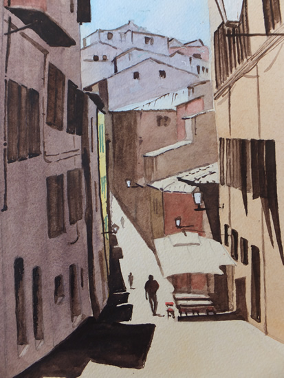 Street in Florence Italy Art Gallery - Painting by Woking Surrey Artist David Harmer