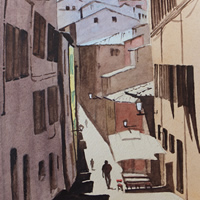 Street In Florence – Europe Art Gallery – Painting by Woking Surrey Artist David Harmer
