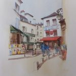 Stroll through Montmartre, Paris – Europe Art Gallery – Painting by Woking Surrey Artist David Harmer